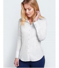 Женская приталенная рубашка, белая текстурированная ткань с контастными деталями - манжеты на пуговицах