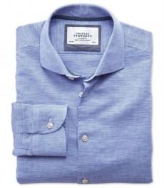 Мужская приталенная льняная рубашка Charles Tyrwhytt голубого цвета со срезанным воротником