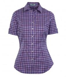 Женская приталенная рубашка фиолетовая с голубой клетка, короткий рукав - низкий воротник