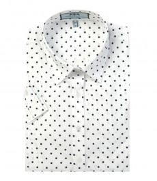 Женская приталенная рубашка, белая в темно-синюю крапинку с коротким рукавом-низкий воротник