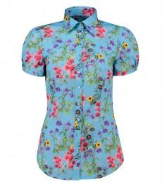 Женская приталенная разноцветная рубашка с цветами, короткий рукав - низкий воротник