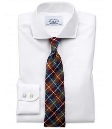 Экстраприталенная твиловая белая рубашка Charles Tytwhitt с виндзорским воротником , не требует глажки