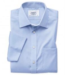 Мужская приталенная рубашка Charles Tyrwhitt, не требует глажки, короткий рукав, голубая