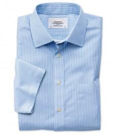 Мужская приталенная рубашка Charles Tyrwhitt, не требует глажки, бенгальская полоска, короткий рукав, голубая
