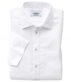 Мужская экстраприталенная рубашка Charles Tyrwhitt, не требует глажки, короткий рукав, белая