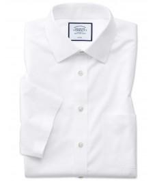 Мужская приталенная рубашка Charles Tyrwhitt, легко гладится , короткий рукав