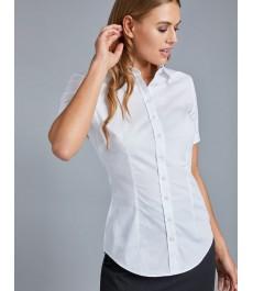 Женская приталенная рубашка, белая, короткий рукав