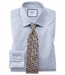 Приталенная серая рубашка Charles Tyrwhitt, египетский хлопок, решётчатая текстура ткани