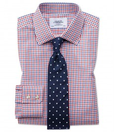 Мужская приталенная рубашка Charles Tyrwhitt, двухцветная клетка красная и синяя клетка