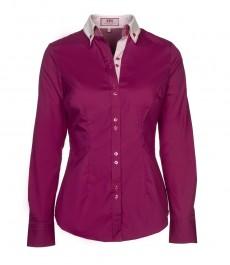 Женская однотонная приталенная рубашка цвета тёмной фуксии с контрастным двойным воротником