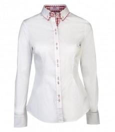 Женская однотонная приталенная рубашка белого цвета с красным контрастным двойным воротником