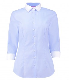 Женская приталенная рубашка, голубая, рукав 3\4