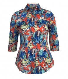 Женская приталенная рубашка оранжево-голубого цвета с ярким цветочным принтом Faye, рукава три четверти, низкий воротник