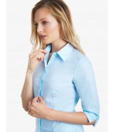 Женская приталенная рубашка, ледяной голубой, 3 четверти  рукав, хлопок - низкий воротник