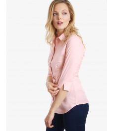 Женская приталенная рубашка, розовая, рукав 3\4, хлопок - низкий воротник