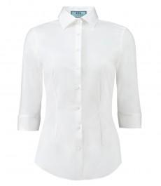 Женская рубашка, приталенная, однотонная белая, рукав 3\4 - низкий воротник