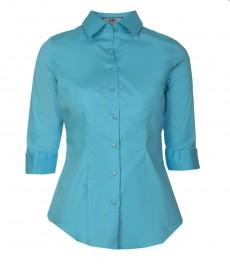 Женская однотонная приталенная рубашка тёмно-бирюзового цвета, с рукавом три четверти и низким воротником