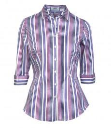 Женская приталенная рубашка в розовую и фиолетовую полоску, 3/4 рукав- низкий воротник.
