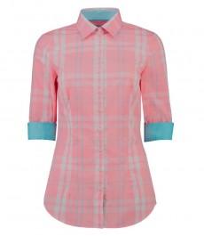 Женская приталенная рубашка, коралловая в крупную голубую клетку, рукав 3\4