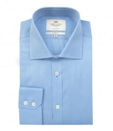 Мужская классическая голубая рубашка - одинарная манжета - 2-х слойный хлопок толщина нити 140s