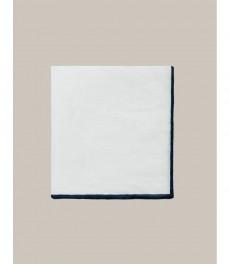 Мужской платок в карман, белый лён, квадратный с тёмно-синей окантовкой, коллекция Marcus Francis - 100% лён