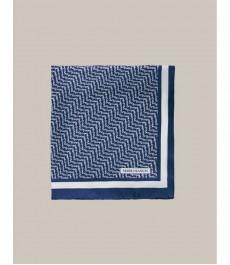 Голубой платок в карман, белая ёлочка принт - 100% шёлк, коллекция Marcus Francis
