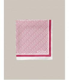 Розовый платок в карман, белая ёлочка принт - 100% шёлк, коллекция Marcus Francis