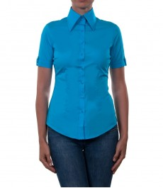 Бирюзовая приталенная женская рубашка с коротким рукавом