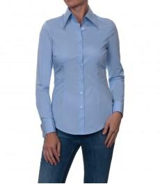 Светлоголубая офисная женская рубашка-стрейч