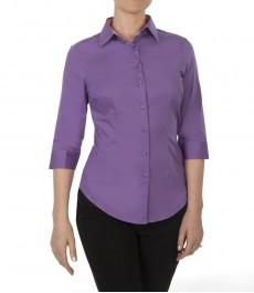 Женская приталенная рубашка, 3/4 рукав, цвет фиолетовый, низкий воротник