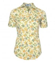 Женская приталенная рубашка с принтом Цветы Индианы - Короткий рукав
