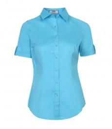 Женская приталенная рубашка, голубая, короткий рукав, 100% хлопок