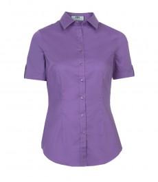 Женская приталенная рубашка, фиолетовая, короткий рукав, 100% хлопок