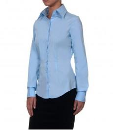 Офисная голубая женская блузка двойная манжета
