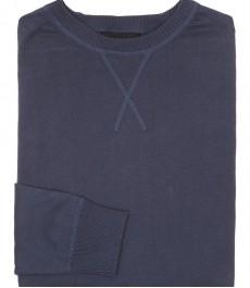 Мужской голубой джемпер, хлопок, круглый вырез, классический крой