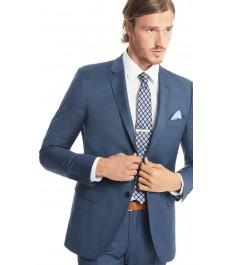 Мужской приталенный костюм в двойную клетку, голубой - Шерсть 120s