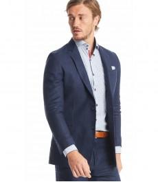 Мужской тёмно-синий 100% льняной пиджак для костюма, ткань в ёлочку,  полуприталенный итальянский крой - Коллекция 1913