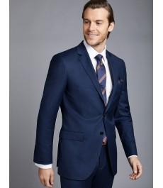 Мужской ярко-синий приталенный костюм, твиловая текстура ткани
