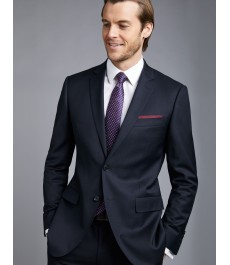 Мужской тёмно-синий приталенный костюм, твиловая текстура ткани