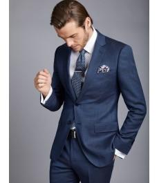 Мужской приталенный серо-голубой костюм Birdseye с ромбовидным узором