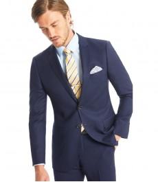 Мужской тёмно-синий приталенный текстурированный пиджак от костюма