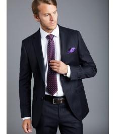 Мужской классический тёмно-синий пиджак от костюма в меловую полоску из шерсти 120s