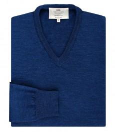 Мужской джемпер, голубой, приталенный, мериносовая шерсть