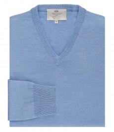 Мужской светло-голубой джемпер, приталенный, мериносовая шерсть