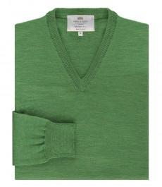 Мужской приталенный джемпер, зеленый, мериносовая шерсть
