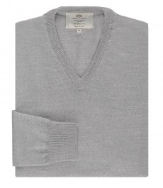 Мужской приталенный джемпер, серебристо-серый, мериносовая шерсть
