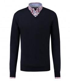 Мужской темно-синий джемпер, приталенный, мериносовая шерсть, V - образный вырез