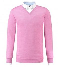 Мужской свитер, приталенный розовый, мериносовая шерсть, V - образный вырез