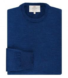 Мужской джемпер, приталенный, голубой, мериносовая шерсть