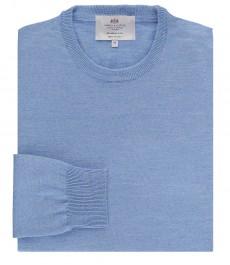 Мужской светло-голубой свитер, приталенный, мериносовая шерсть